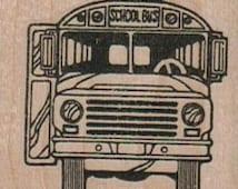 wood mounted Rubber stamp school bus scrapbooking supplies number 10249