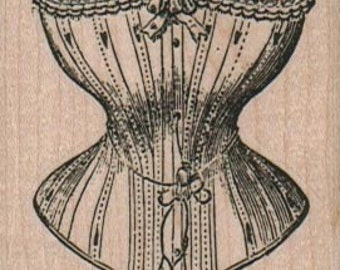 large stamp corset  wood mounted rubber stamp   number 2390