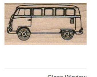 wood mounted Rubber stamp Hippie vw bus van scrapbooking supplies number 6526