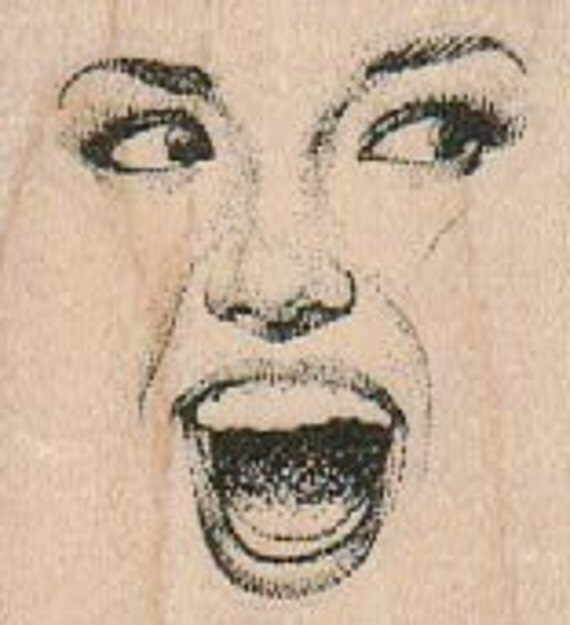 Rubber stamp   woman face detail cling stamp, wood mounted or unMounted  scrapbooking supplies number 18341