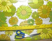 Crazy daisy wallpaper retro olive mustard