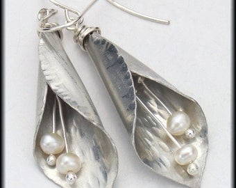 LILIES and PEARLS - Handforged Pewter Calla Lily and Freshwater Pearl Earrings