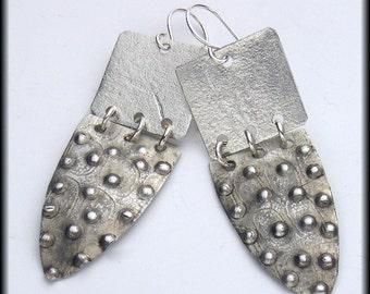 RWANDA - Handforged Textured Dimpled Antiqued Tribal 2 pc Pewter Earrings