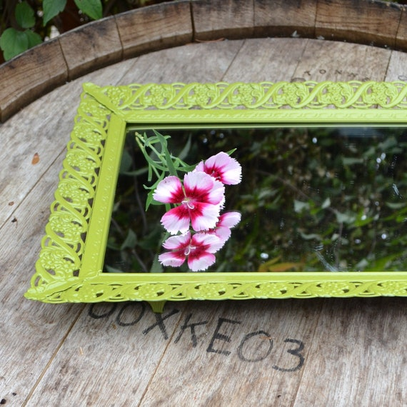 Upcycled Home Decor Vintage Oval Vanity Mirror in Olive Green