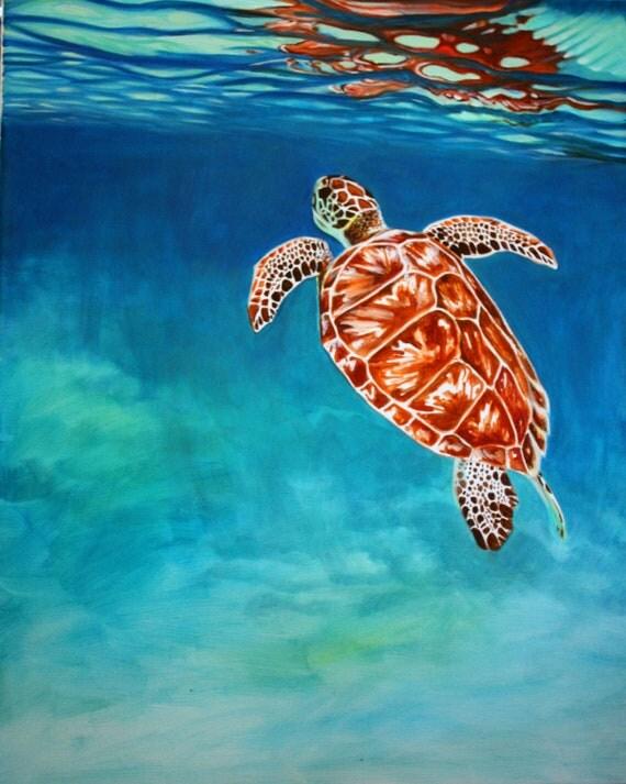 Original Oil Painting of Turtle