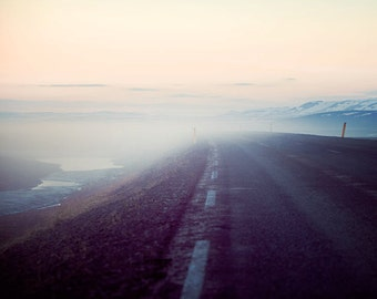 Arctic Sunset Photography, Landscape Photography, Iceland Road, Spring Pastel Wall Art, Travel, Purple, Pink, Adventure - On the Road