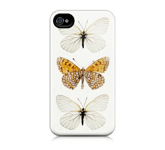 iPhone 4 Case, iPhone 4S Case - Butterfly Photograph, Nature Photography, Modern, Minimal, White, Orange,