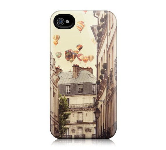 iPhone 4 Case, iPhone 4S - Hot Air Balloons Over Paris Street, Whimsical Travel Photography - Paris is a Feeling