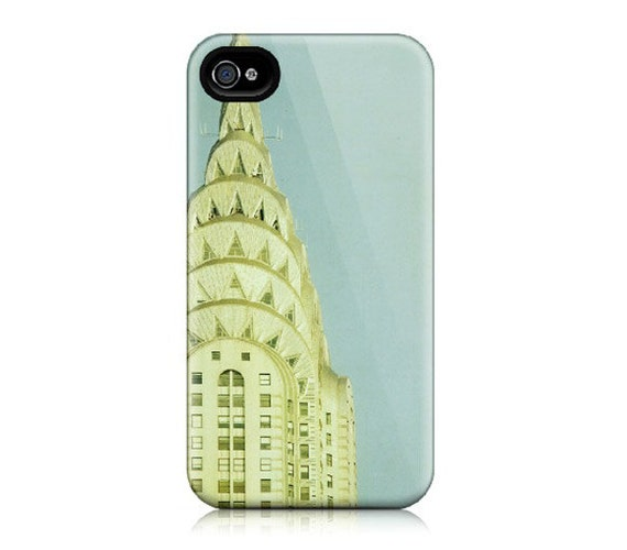 iPhone case for iPhone 4 and 4s - NYC, New York City Photograph, Chrysler Building, Art Deco, Blue, Gold, Pastel - Top of the City