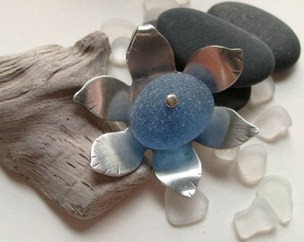 CORNFLOWER BLUE Genuine Sea Glass Flower Pendant by Lake Erie Beach Glass LEbg