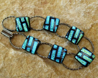Blue Glass Bracelet, Fused Glass Link Bracelet  Dichroic Fused Glass Link Bracelet  - Turquoise Blue Bricks