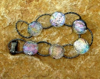 Fused Glass Bracelet , Dichroic Fused Glass Link Bracelet, Crystal Rainbow Fused Glass Link Bracelet