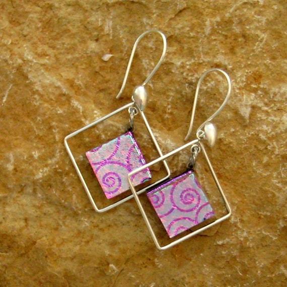 Pink  Fused Glass Hoop Earrings, Dichroic Fused Glass Hoop  Earrings,  Caged in Pink