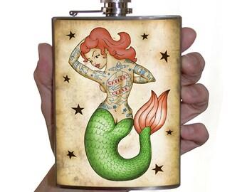 Tattooed Mermaid flask - 8 oz. stainless steel