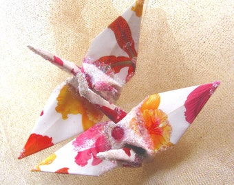 Sunrise Orchid Wedding Cake Topper Peace Crane Origami Christmas Ornament Party Favor Japanese Bird Paper Place Card Holder Table Decoration