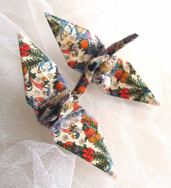 cornucopia peace crane christmas ornament wedding cake topper