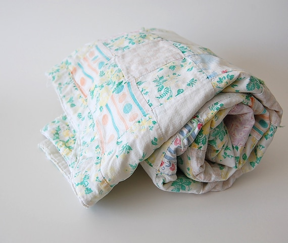 Faded Vintage Baby Quilt . Primitive . Tattered . green . blue . pink . yellow
