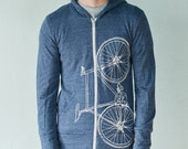 FIXIE BIKE Medium hoodie unisex eco-heather zip hoodie creme on blue Medium