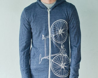 FIXIE BIKE xl hoodie unisex eco-heather zip hoodie creme on blue XL
