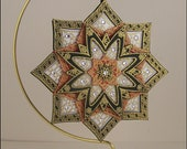 Mandala in white, black, and red, with Swarovski crystals