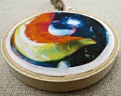 fabric photo hoop art -- orange and blue swirl marble
