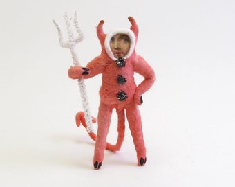 Vintage Style Spun Cotton Red Devil Halloween Figure/Ornament