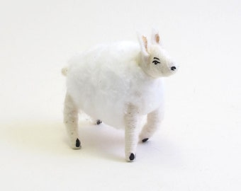 Vintage Inspired Spun Cotton Wooly Sheep Figure/Ornament
