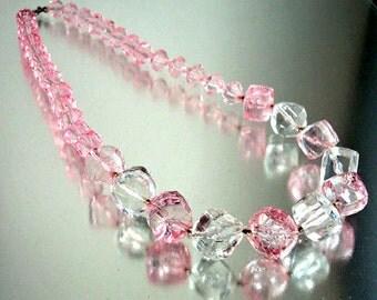 Pink & Clear Transluscent Lucite Necklace Vintage
