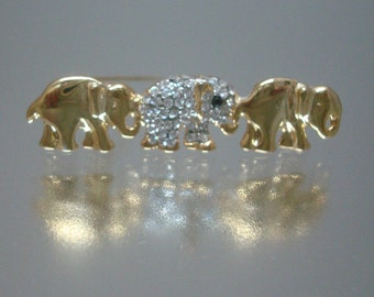Triple Elephants Pin Rhinestones Vintage