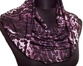 Plum Purple Black & White Long Infinity Circle Scarf  All Season Silky Soft Lycra Cowl