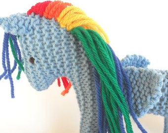 Eco Kids Toy Pegasus Earth Pony Fairy Horse, Waldorf Child's Toy Stuffed Animal Natural Plush
