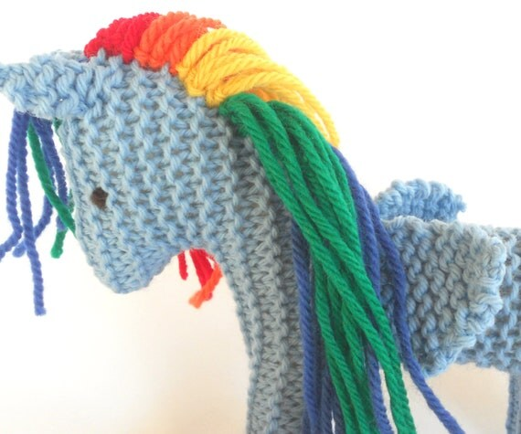Eco Kids Toy Pegasus Earth Pony Fairy Horse, Waldorf Child's Toy Stuffed Animal Natural Plush