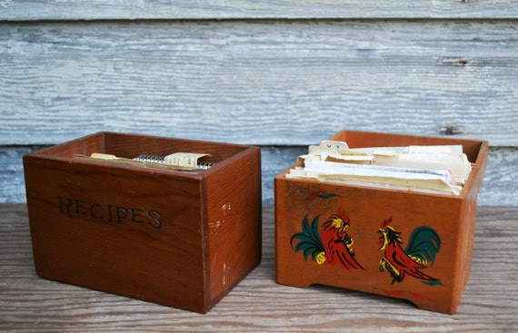 Reserved for Dusinbek - Vintage Wood Wooden Recipe Boxes - Set of 2 - Handwritten Recipes - ca. 1950s to 1980s