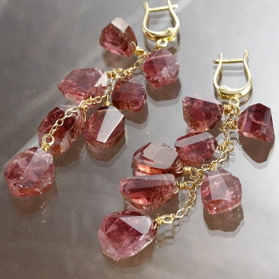 Reserved - Pink Tourmaline Slice 18K 14K Gold Long Earrings