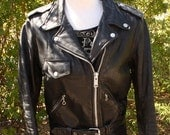 Small Vintage 80s Black Leather Motorcycle Jacket with Original 88 Metallica Concert Patch - Size S