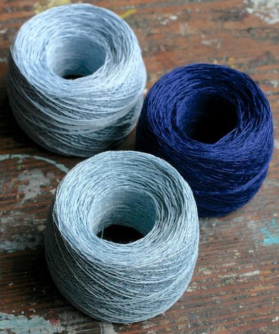 Linen yarn thread -- three balls -- blue
