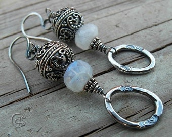 Moonstone Earrings Ornate Beaded Bali Silver Jewelry Fine Silver