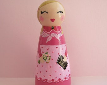 Hand Painted Love Boxes Custom Mormon Pioneer Pink Peg Doll Cake Topper Wood