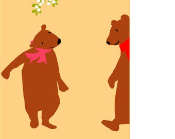 holiday greeting card brown bears under mistletoe