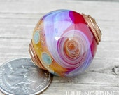 Julie Nordine . Large Hole European Style Handmade Art Glass Bead 25 . Sterling Lined . Copper . Lampwork . SRA