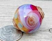 Julie Nordine . Large Hole European Style Handmade Art Glass Bead 25 . Sterling Lined . Copper . Lampwork . SRA