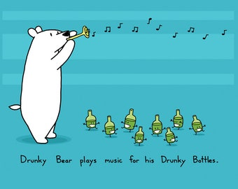 Drunky Bear Music Greeting Card