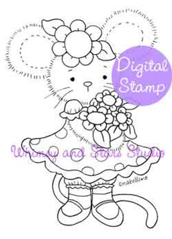 Instant Download Digi Stamp: Lucy's Flowers
