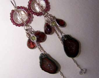 Rutilated Quartz,Tabasco  Geode Druzy,Herkimer Diamond,Garnet, sterling silver wire wrapped,hook  earwire