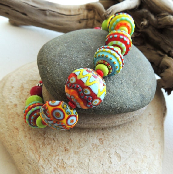 Artisan Multi Colored Lampwork Bracelet