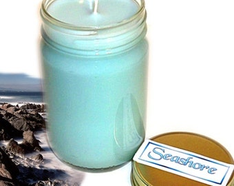 Seashore Mason Jar Candle Ocean Scent 12 Oz Handmade