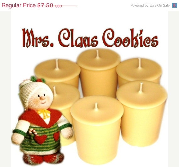 SALE 6 Mrs Claus Cookies Votive Candles Vanilla Scent