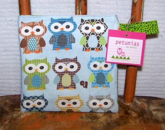 Reusable Little Snack Bag - pouch kids adult owls blue eco friendly by PETUNIAS