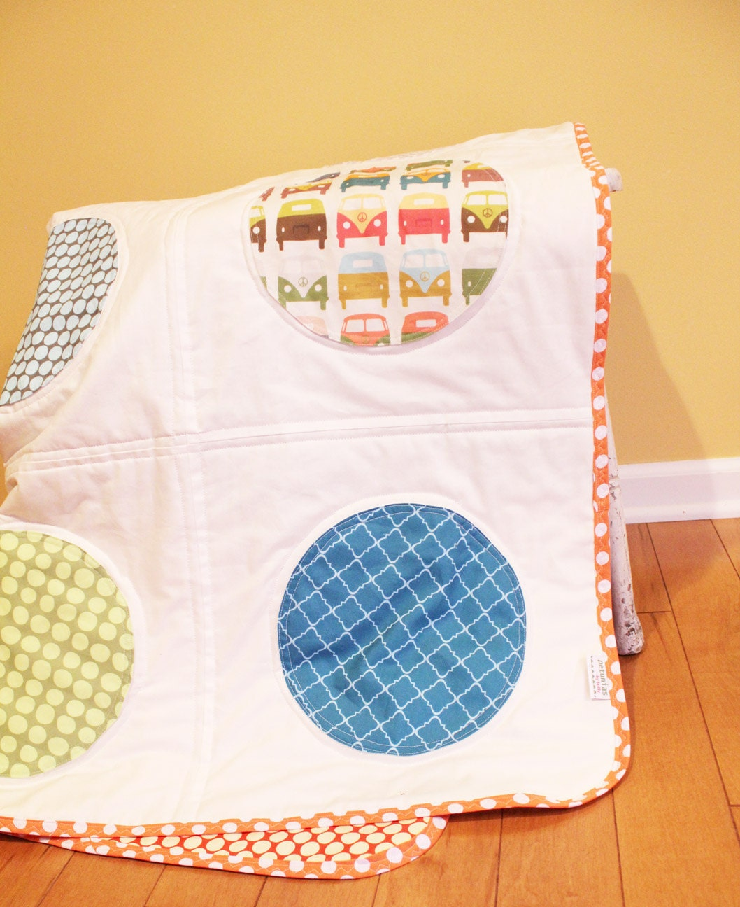 Dot quilt by petunias vw red turquoise white baby by petunias - Vintage antique baby room ideas timeless charm appeal ...