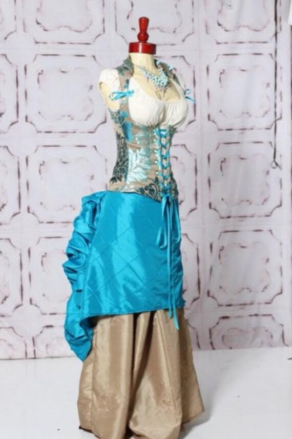Waist 29 to 31 Lavish Turquoise Damask Vixen Corset